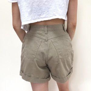 Vintage high waisted khaki denim shorts